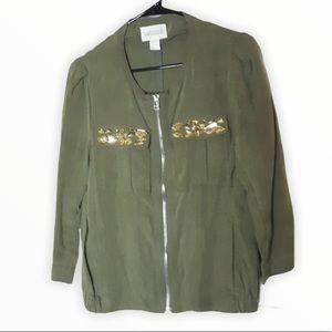 H&M embellished olive green zip up jacket 6